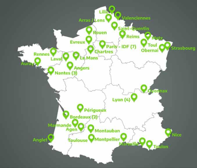 Carte de la France des centres Manuteo